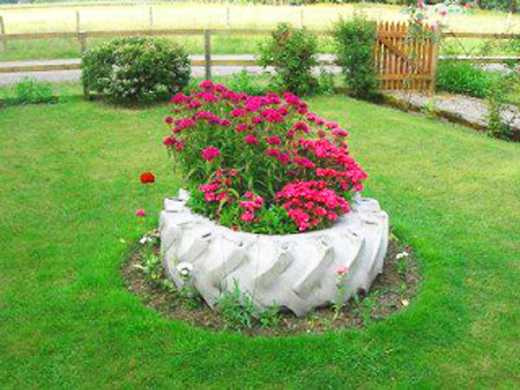 Decoração de jardim – Jardim reciclado com pneus