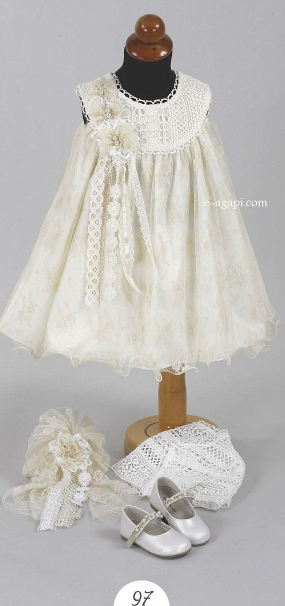 Baby girl baptism dress Vintage ivory Christening lace dress Wedding flower girl outfit DESCRIPTION The set contains 3 assorted pieces: dress bolero