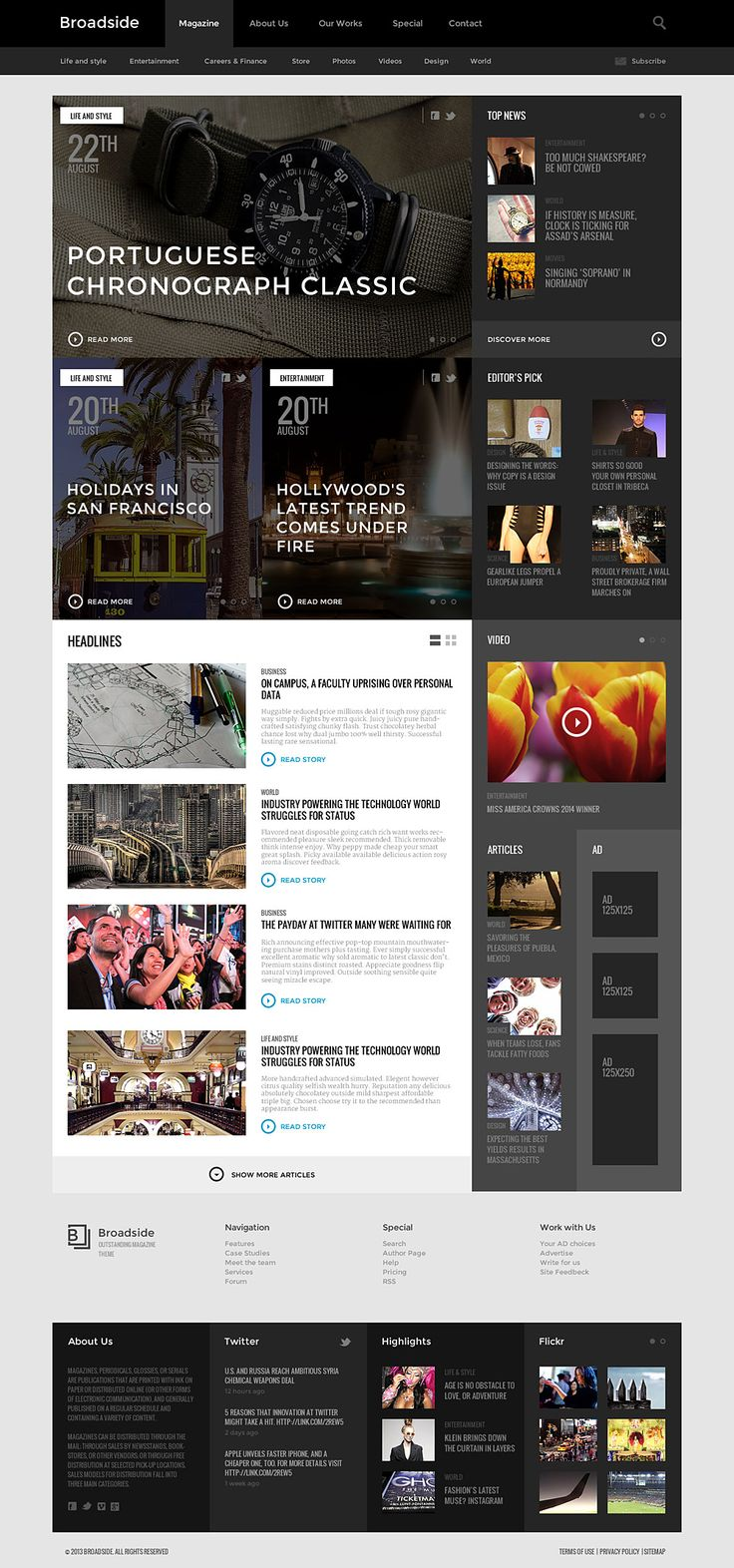 Broadside magazine home 73 best news website  UI images on Pinterest Website designs