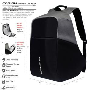 Tas Ransel Laptop Anti Maling Smart Backpack Anti Theft Anti Thief Tas Anti Copet Carion Mark