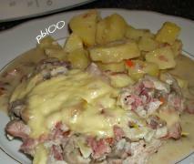 Überbackene Putenschnitzel mit Kartoffeln