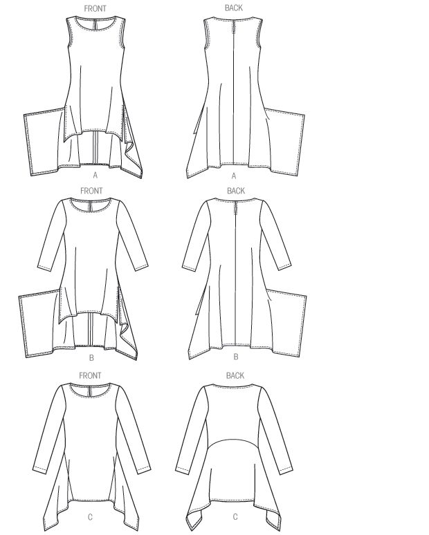 Hem treatment for 'Alabama Chanin Crew Neck' dress? Specifically the curved peplum skirt, similar to Riding Peplum. V8976 | Misses' Tunic | New Sewing Patterns | Vogue Patterns