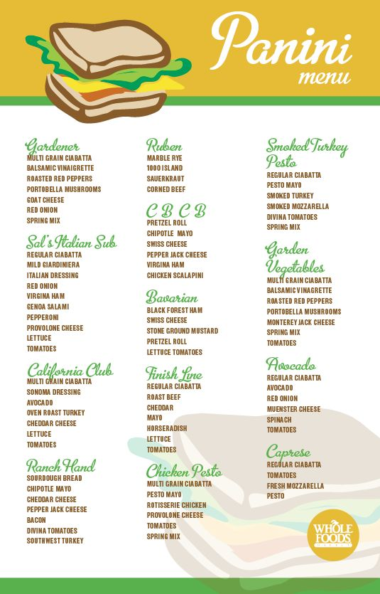 Panini Menu | Whole Foods Market