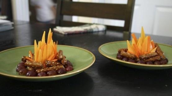 Campfire snacks , grapes, carrots and pretzels