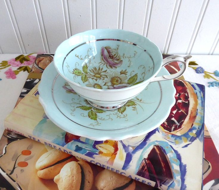 Pretty Paragon Cup And Saucer Robins Egg Blue Hand Colored Floral 1940s Platinum Trim