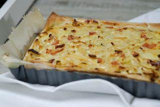 Duitse uientaart  kan ook vegetarisch worden gemaakt met bv gerookte kaas