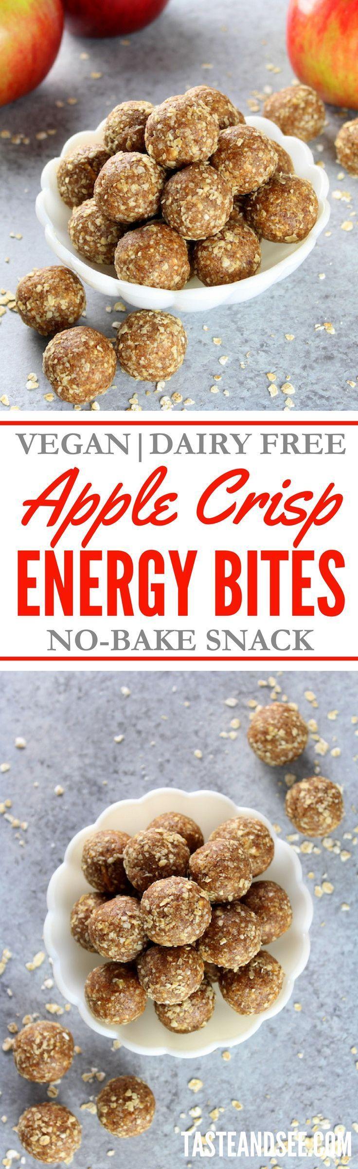 Apple Crisp Energy Bites! No Bake | Dairy-Free | 5-Minute| http://tasteandsee.com