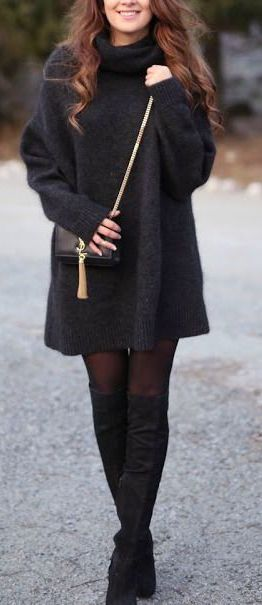 #winter #fashion / knit dress + knee-length boots