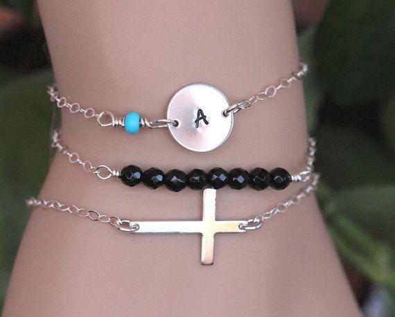 Sterling silver sideways cross bracelet Cross by rainbowearring1
