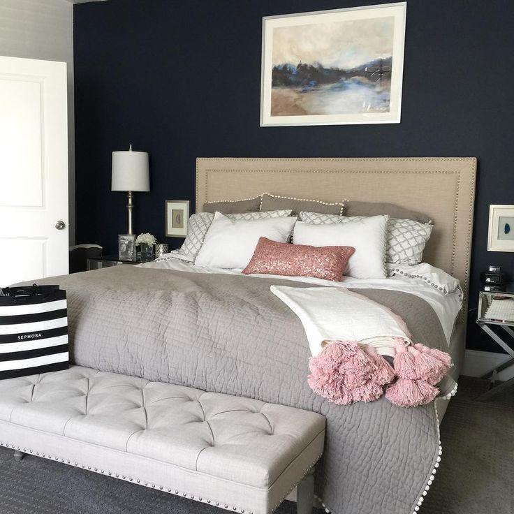 Navy and Blush Master Bedroom   Blue master bedroom ...