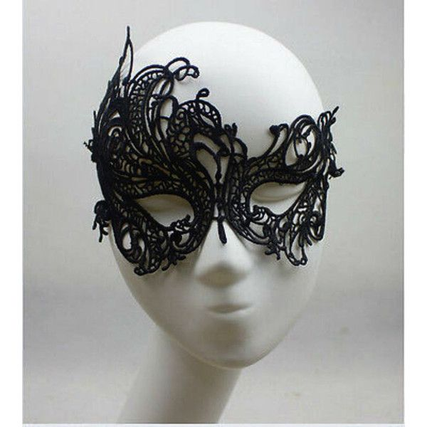 Sexy Black Lace Mask Mysterious Masquerade Ball Mask 50 shades of grey... ($7.11) ❤ liked on Polyvore featuring costumes, sexy halloween costumes, burlesque halloween costumes, ball costume, sexy costumes and lace costume