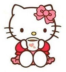 Hello Kitty drinking tea