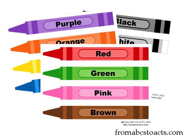 Printable Crayon Color Flashcards