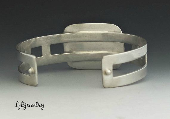 Silver Cuff, Chinese Writing Stone Cuff, Statement Cuff, Bracelet, Sterling Silver, Modern, Metalsmith Jewelry, Handmade  A great statement cuff made
