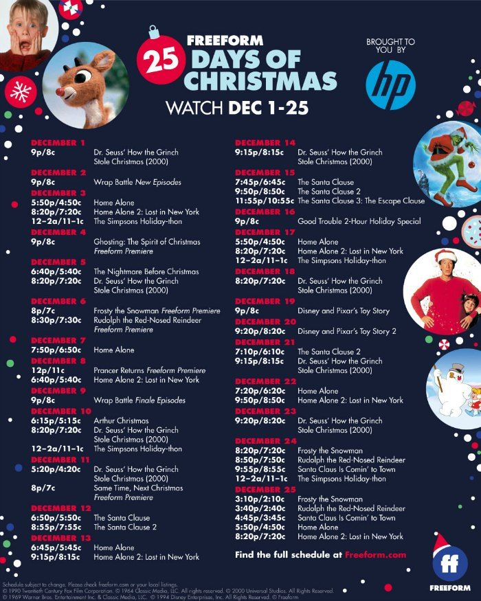 Freeform 25 Days Of Christmas Schedule 2020 25 Days of Christmas Movies + FREE Printable Schedule Highlights