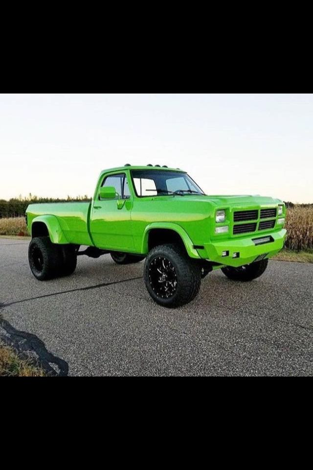 Neo Green Dually Dodge Cummins Single Cab #Dodge #Cummins #Green #Custom #Lifted #BlackWheels