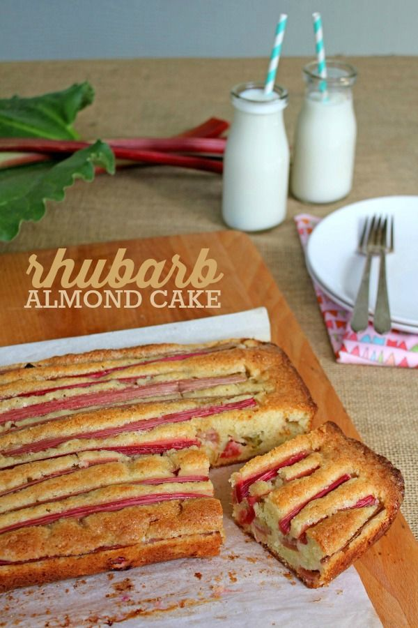 Rhubarb Almond Cake -- A simple and delicious recipe to make use of the rhubarb filling your garden this spring!
