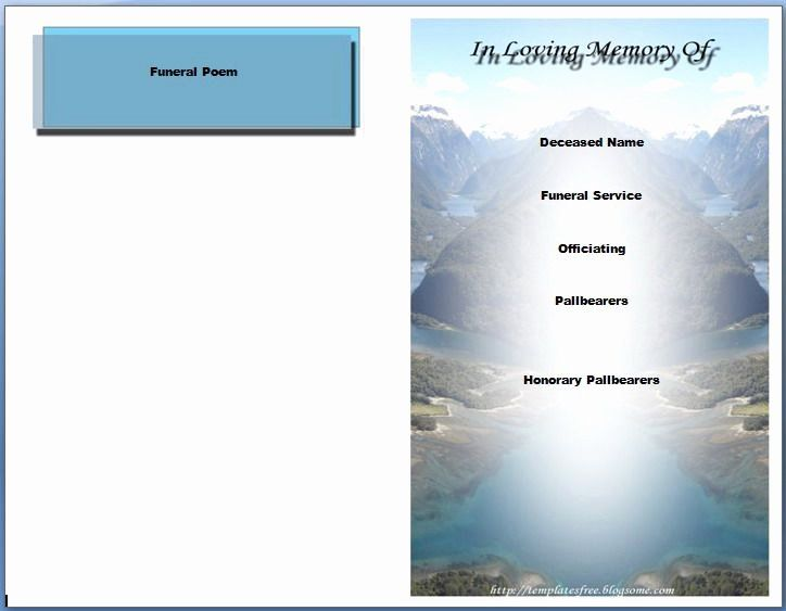 Memorial Card Template Microsoft Word Lovely Free Funeral ...