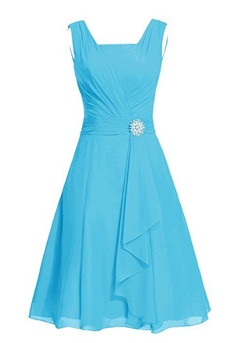 Dresstells® Short Bridesmaid Dress Square Chiffon Mother Party Dress with Sash Blue Size14