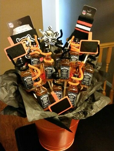 Bengals Whiskey Bouquet Adult Birthday Cakes Gift