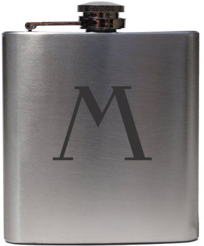 """Monogrammed Celtic """"M"""" 6oz Stainless Steel Hip Flask by Etched Laser Art. $18.99. 6oz Stainless Steel Hip Flask. Guarenteed to Never Fade or Wear Off. Monogram is Engraved With Highest Detail. This is a stainless steel flask with a beautiful monogram laser etched onto it. The laser interacts with the stainless steel using a chemical compound to create a unique darkened black look with great detail. The logo is very resilient to scratching and fading."""