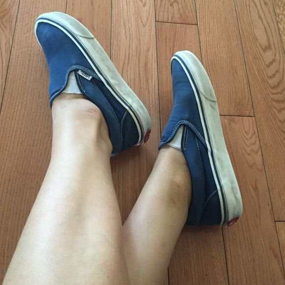 Navy blue vans Slip on vans in navy blue in women's 7.5 Vans Shoes Sneakers