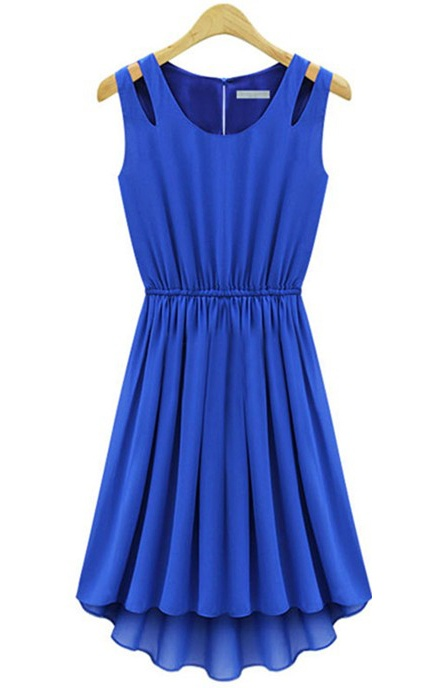 {Bright Blue Shoulder-Detail Pleated Dress} perfect for twirling in!