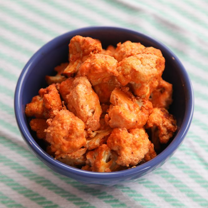 Buffalo Cauliflower Poppers... made w/ Plain Greek Yogurt, buffalo sauce and garlic