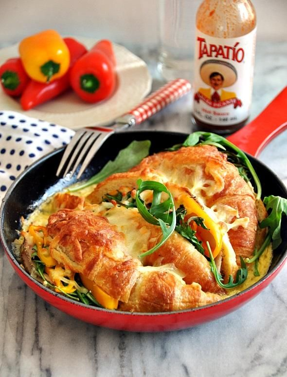 Baked Croissant Sandwich Casserole -- yes, please. (@Emily Tan | Fuss Free Cooking)