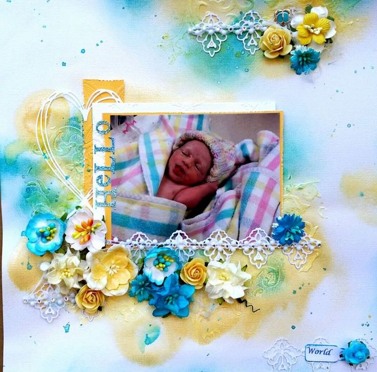 Hello World Scrapbooking Layout in Yellow and Blues with gesso and distress ink background