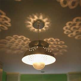 Colander Pendant $168.00 - Seems like this would really be simple to do. Love the light it casts on the ceiling