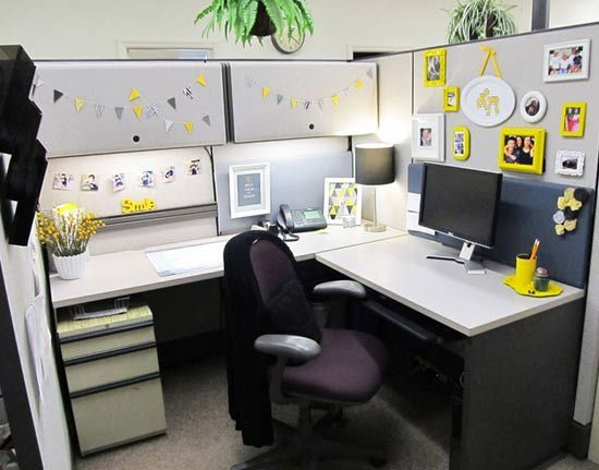 chic yellow cubicle makeover - Cubicle Design Ideas