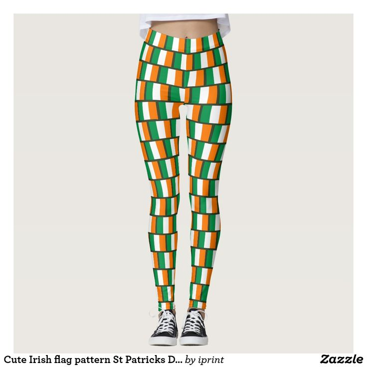 Cute Irish flag pattern St Patricks Day party leggings. Fun St Pattys Day costume outfit for lucky Irish women and girls.