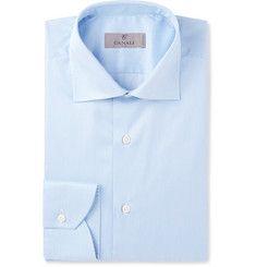 CanaliBlue Cutaway-Collar Striped Cotton Shirt