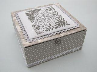 caja, boite, box, cartonnage, punto cruz, point croix, cross stitch