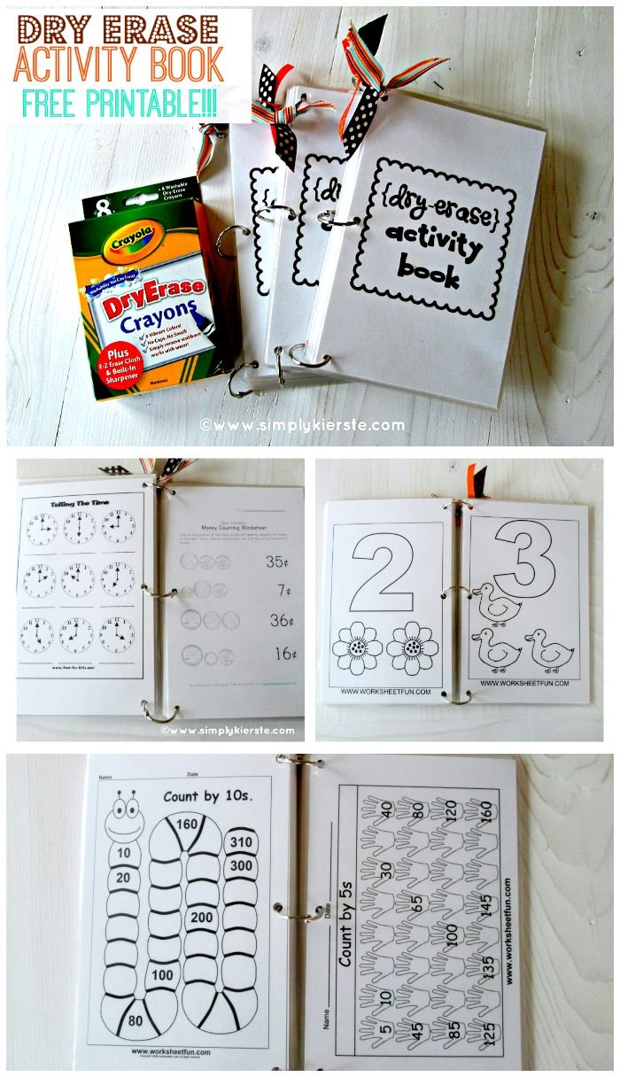 Dry Erase Activity Book...Free printable!  Perfect for travel, church, home, and more! simplykierste.com