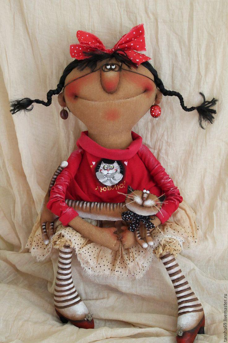 Купить Кисонька! - комбинированный, текстильная кукла, ароматизированная кукла, интерьерная кукла, котик, ткань, синтепух