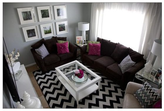 dark brown couch teal wallWall Colors, Decor Ideas, Living Rooms, Livingroom, Brown Couch, Grey Wall, Colors Schemes, Small Spaces, Chevron Stripes