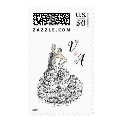 Elegant Bride and Groom Wedding invitation Postage - black and white gifts unique special b&w style