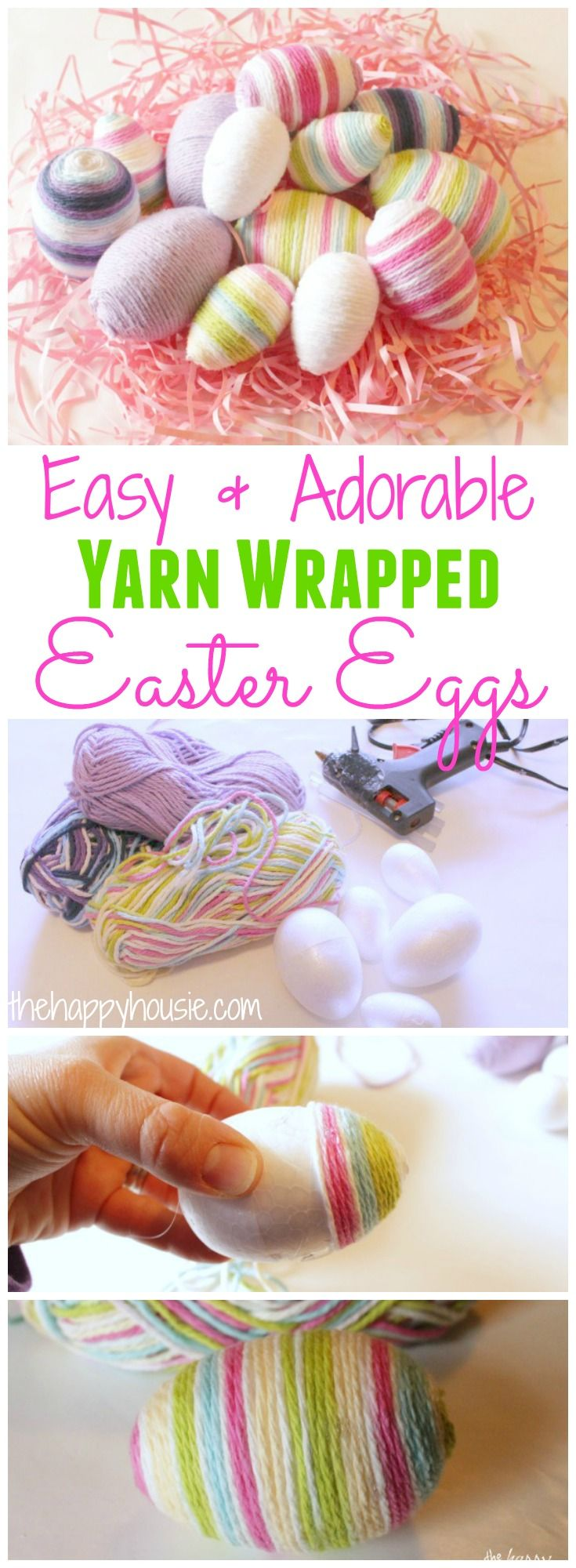 How to make your own Easy and Adorable Yarn Wrapped Easter Eggs at thehappyhousie.com