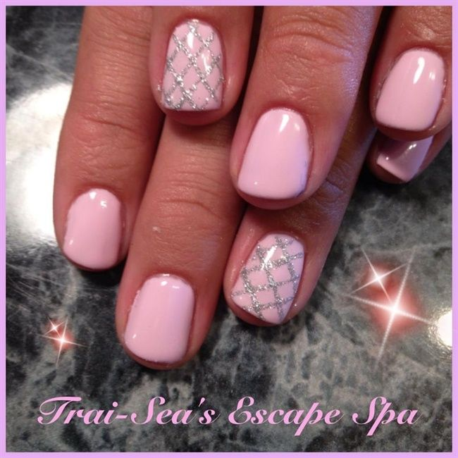 Shellac Gel Polish with Silver - Nail Art Gallery Pretty but maybe in a different color.  I am not a pink girl