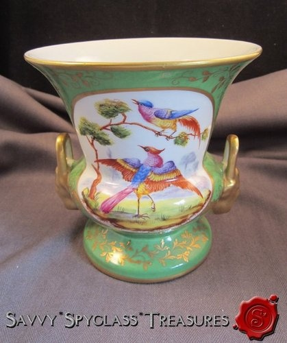 Wonderful Atelier Le Tallec Limoges France Handled Vase with Birds!