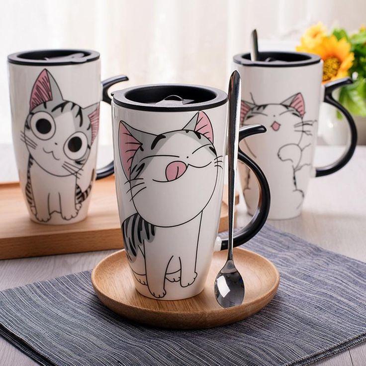 Cute Cat Ceramic Mug with Lid & Spoon