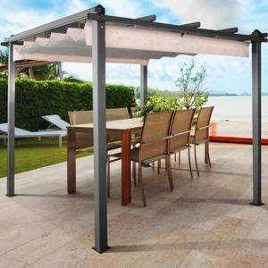 Cette tonnelle de jardin structure aluminium et métal donnera du cachet à votre terrasse et vous protégera du soleil et des intempéries.Son toit rétractable monté sur rails avec toile 100% polyester coloris écru lui apporte élégance et modernité.Au choix, vous restez à l'ombre sous la toile ou au co