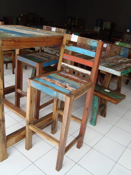 Reclaimed Boat Wood Bar Stool Bali Sourced Reclaimed