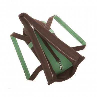 Canvas Dog Carrier Bag Brown/Green