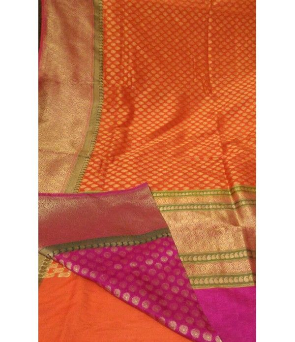 Orange Handloom Banarasi Pure Katan Silk Saree