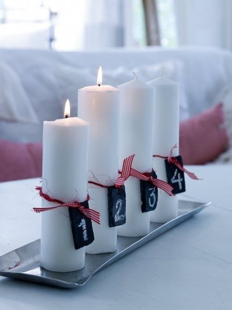 advent candles+ great idea when I can't find coloured candles