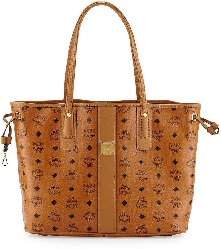 MCM Liz Reversible Shopper Tote Bag, Cognac