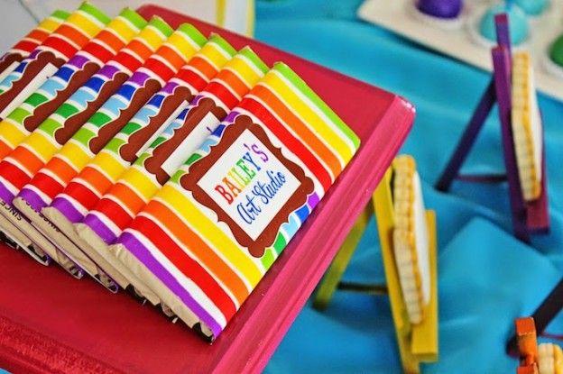 Art themed 8th birthday party via Kara's Party Ideas KarasPartyIdeas.com Printables, cake, decor, cupcakes, desserts, invitation, etc! #artparty #paintingparty #karaspartyideas (24)